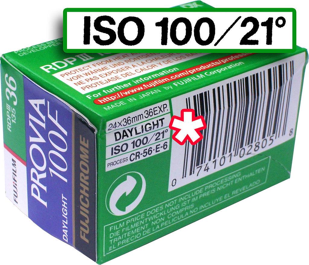 Filmpackung von Fujifilm mit ISO-Wert 100/21°